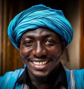 Black man with turban. Decorative